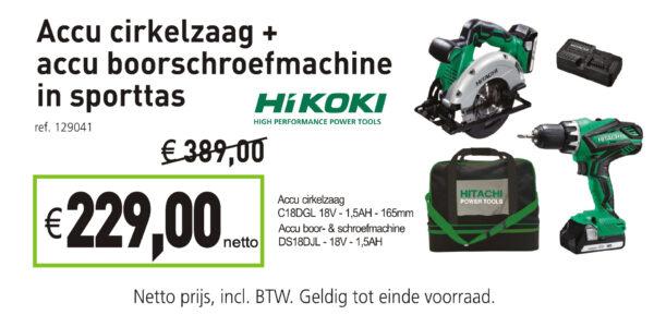 Hikoki accu cirkelzaag + accu boorschroefmachine in sporttas