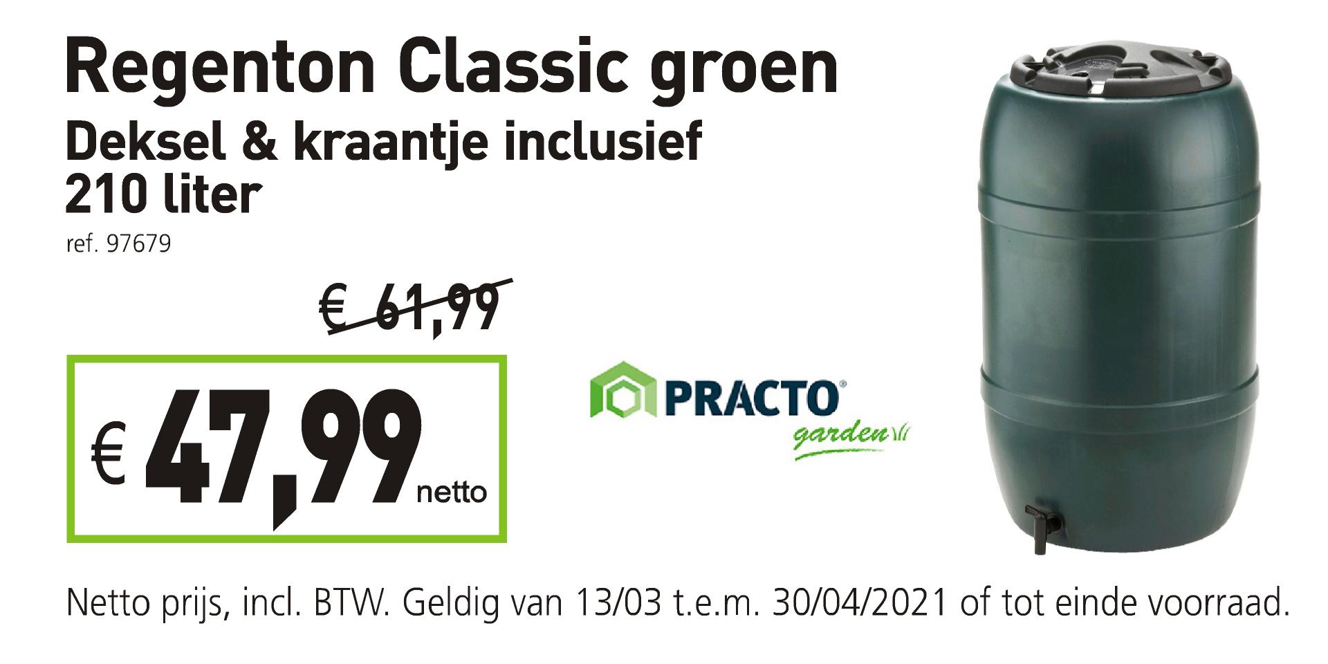 Practo regenton classic groen 210 liter