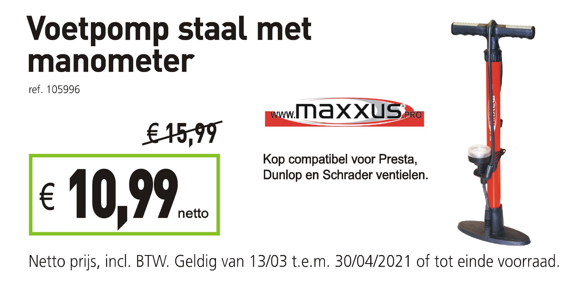 Maxxus voetpomp staal met manometer