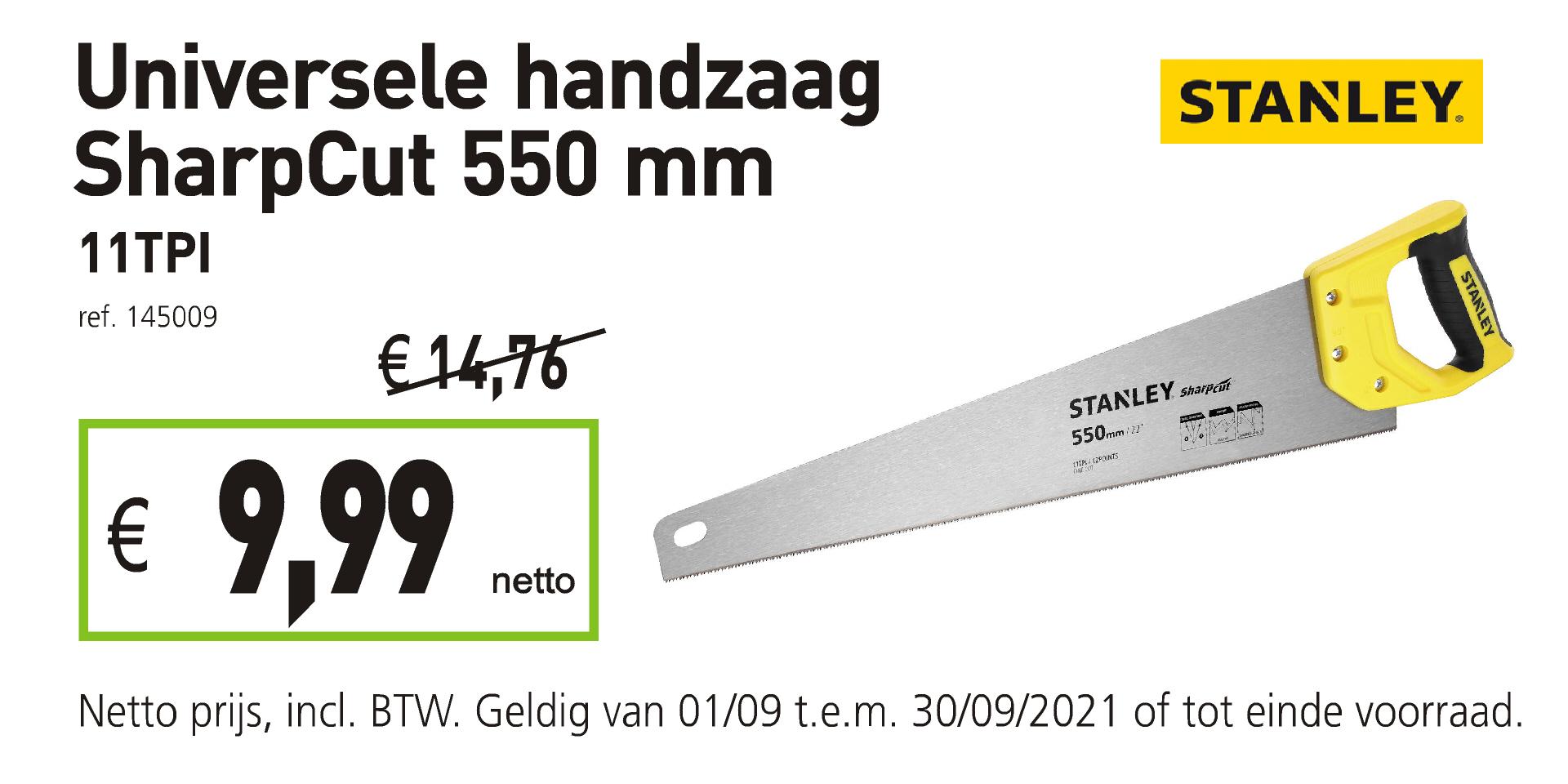 Stanley universele handzaag sharpcut 550 mm 11TPI