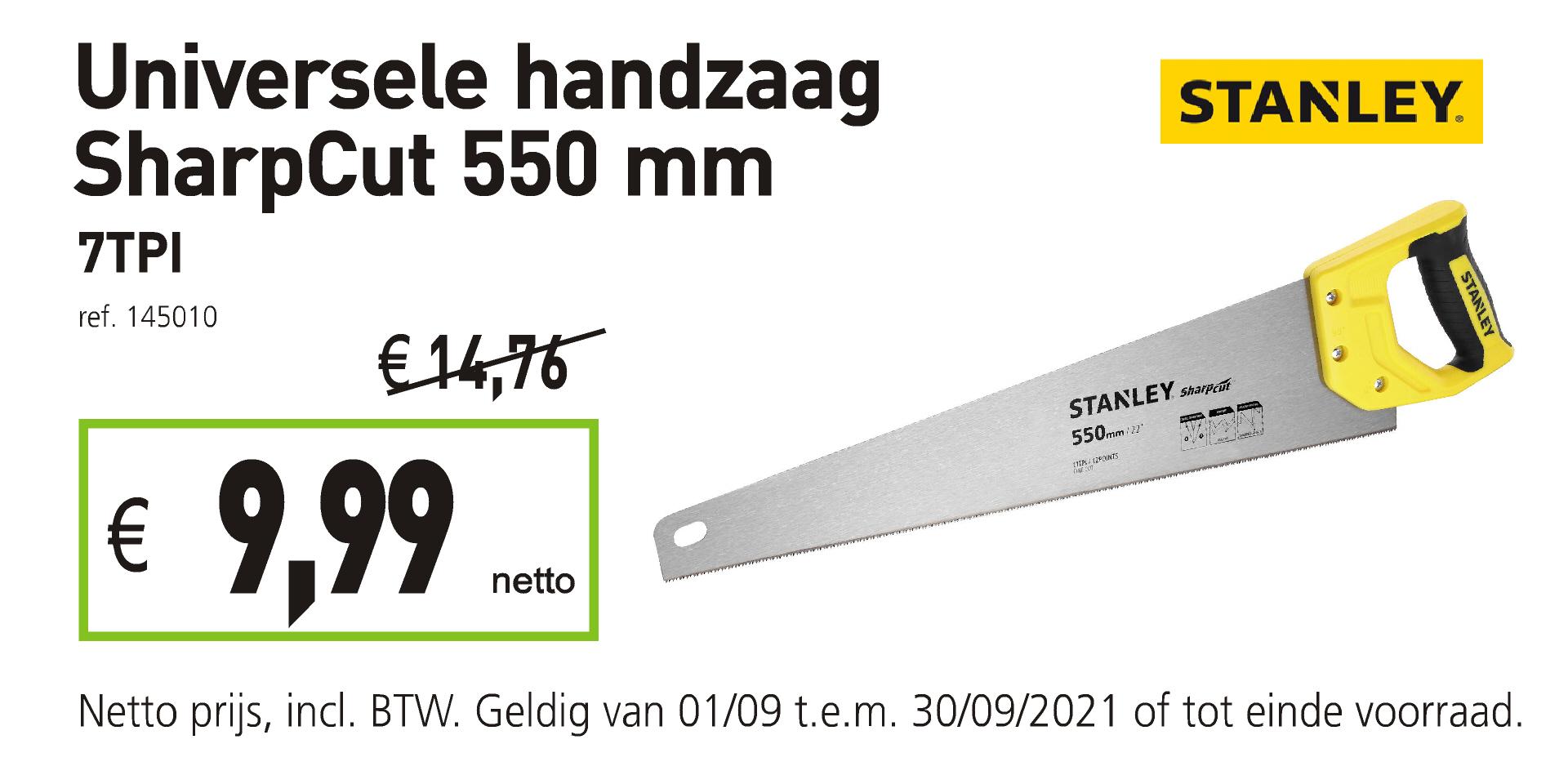 Stanley universele handzaag sharpcut 550 mm 7TPI